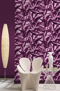 Purple F72906 3d Gathered Silk Effect Crushed Velvet