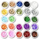 24Box Nail Art Decoration Glitter Pai...