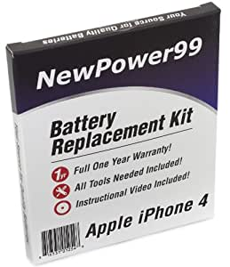 Battery Replacement Kit for Apple iPhone 4 with Installation Video, Tools, and Extended Life Battery.