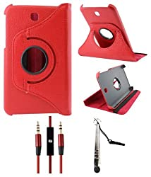 DMG Full 360 Rotating Flip Book Cover Case Stand for Samsung Galaxy Tab 3 T211 with Aux Cable with Mic + Stylus +DMG Wristband -Red