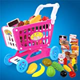 Atoz Prime 22Pcs Childrens Shopping Trolley Cart Role Play Set Learning Education Toy With Plastic Fruit Food