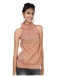 Rajrang Cotton Brown Screen Printed Tunic Top Size: S - B00AXY0850