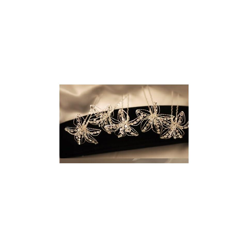 Malis Henderson Crystal Lily Silver Hair Pins   Set of 5