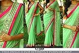 Colour Trendz Parrot Green & Golden Designer Fancy Saree