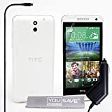 Yousave Accessories HTC Desire 610 Case Clear Silicone Gel Cover With Car Charger