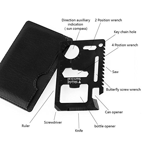 ShieldSurvival 11 in 1 Survival Credit Card Multi Tool Fits Perfect in Your Wallet Multitool (2 pieces)