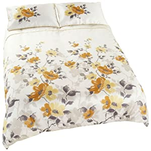 SUMMER BLOOMS DUVET COVER SET - Floral Quilt Covers - Faux Silk Bedding Sets Caramel ( cream beige brown yellow ) Duvet Cover - King Size ( kingsize )