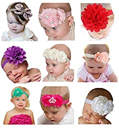 Hip Mall® 9pcs Baby Girls Headbands Newborns Hair Bands Headwraps with Flowers Bows