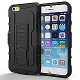 iPhone 6 hülle,HOOMIL® iPhone 6 Hülle Case Cover Dropdown-beweis stoßfest Handy Schutzhülle Weich Silikon Dual Layer Holster Armor Case mit Ständer und Gürtelclip hülle für Apple iPhone 6 4.7 Zoll (Schwarz, 4.7 zoll)