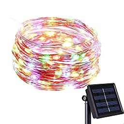 BMOUO Solar String Lights, 100LED 33ft Copper Wire Lights Waterproof Wire Rope Lights Ambiance Lighting for Outdoor Landscape Patio Garden Bedroom Camping Christmas Party Wedding (Multi color)