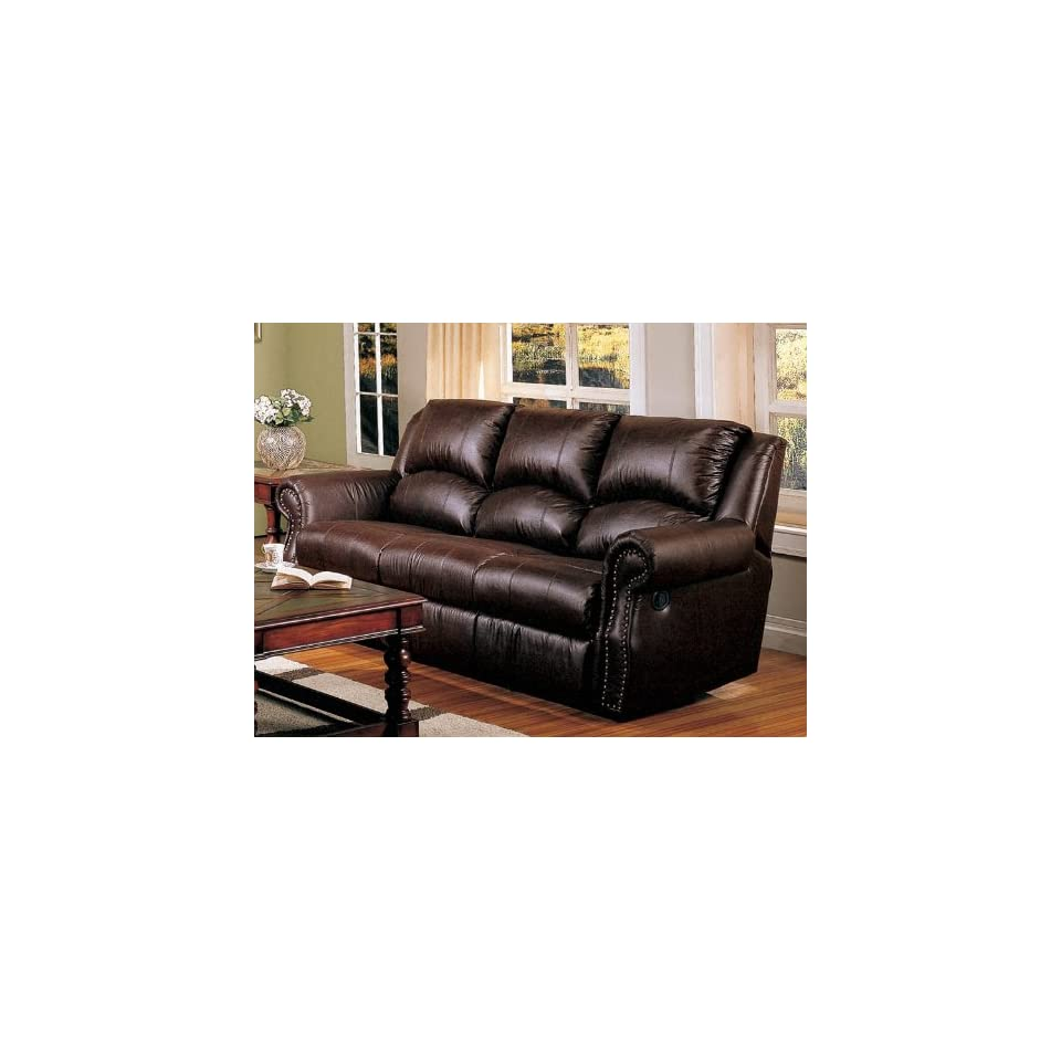 Recliner Sofa Couch Nail Head Trim Dark Brown Leather