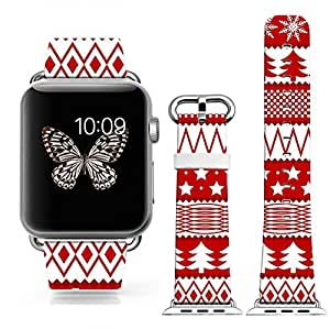Iwatch Band Leather 42mm,Apple Watch Strap Genuine Leather Replacement 42mm - Red Festive Christmas Theme Stripes (with metal clasp together)