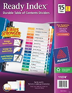 Avery Ready Index Table of Contents Dividers, 15-Tab Set, 3 Sets (11074)