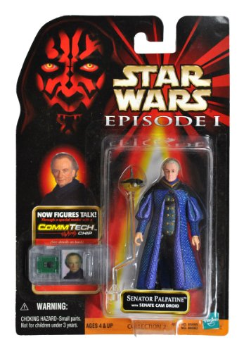 Star Wars Episode 1 The Phantom Menace CommTech Series 4 Inch Tall Action Figure - SENATOR PALPATINE with Senate Cam Droid and CommTech Chip