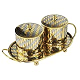 Pair Of Handmade Brass Kitchen Table Spice Tea Coffee Jars With Lid