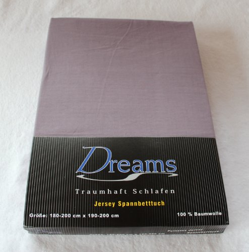 Dreams 100% Baumwolle Jersey Spannbettlaken Farbe Grau Größe 180 x 200 bis 200 x 200 cm Spannbettuch Spannlaken mit Rundumgummi