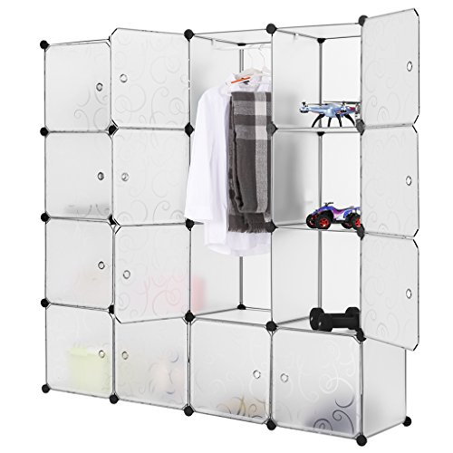 LANGRIA 16-Cube DIY Modular Shelving Storage Organizing Closet with Translucent Curly Patterned Doors and Cube Design for Clothes, Shoes, Toys and Books (White) (Shelving Modular compare prices)