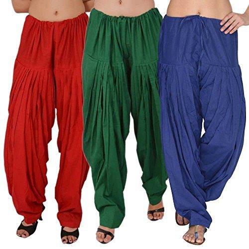 Bottomline-Womens-Cotton-Patiala-Salwar-Combo-GreenBlue-RedFree-Size