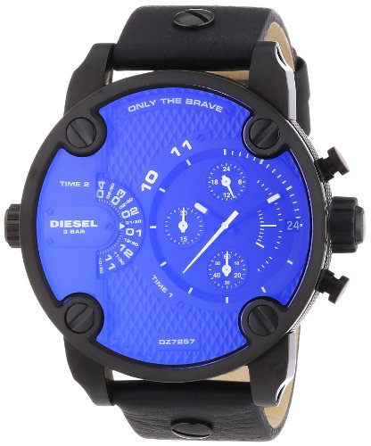 Diesel DZ7257 sba oversize chrono black pyramid texture dial black leather strap men watch NEW