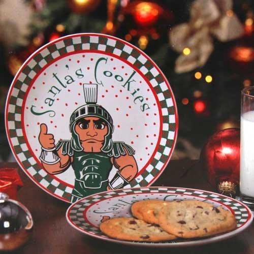 Ncaa Michigan State Spartans Santa Ceramic Cookie Plate