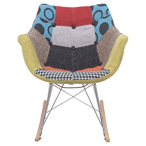 LeisureMod Willow Patchwork Fabric Eiffel Rocking Chair, Multicolor 1