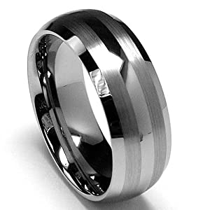 8MM Dome Men's Tungsten Carbide Ring Wedding Band size 9