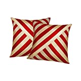 Xarans Diagonal Stripe Beige N Red Cushion Cover Set Of 2 (16x16 Inches)
