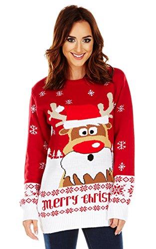 Natale da uomo maglione a maglia Fair Isle Maglione Unisex RUDOLPH AS SANTA XX-Large