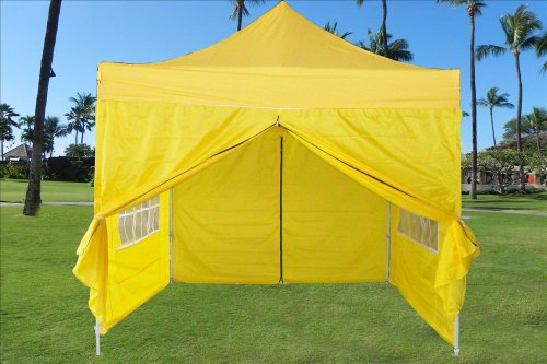 10'X10' Pop Up 4 Wall Canopy Party Tent Gazebo Ez Yellow - E Model / By Delta Canopies front-96782