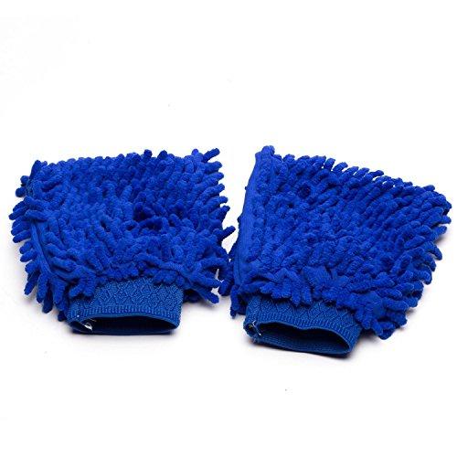 Car Wash Mitt ,Lolldeal (2-Pack) Premium Chenille Microfiber Car Wash Mitt/Gloves for Car, Wood, Mirrors, Furniture & Glass (Blue) (Car Washing Pump compare prices)