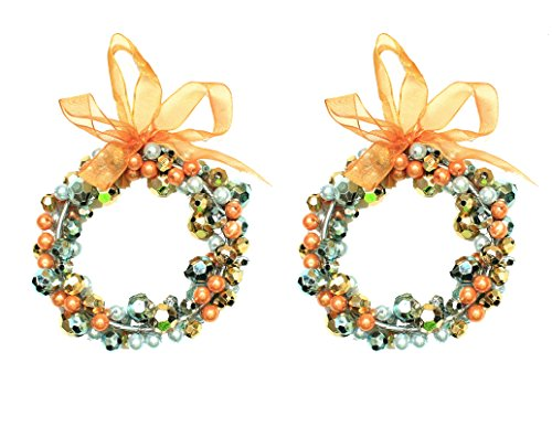 Holiday Lane Gold & Silver Bead Wreath 4″ Christmas Ornaments; Set of 2