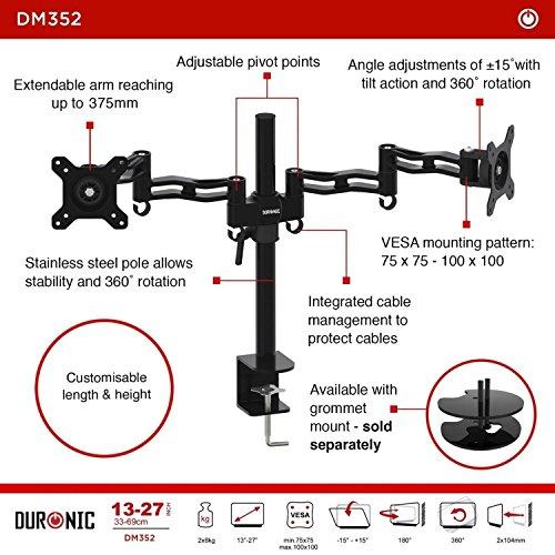 Duronic Dm352 Bk Black Double Twin Lcd Led Desk Mount Die Cast