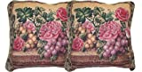 DaDa Bedding CC-14426 Parade of Fruit and Rose Woven Cushion Cover, 18 by 18-Inch, Set of 2