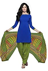 Fashions World Fancy Blue Crepe Dress Material