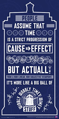 Doctor Who Wibbly Wobbly Timey Wimey Quote Tardis Blue Illustration Sci Fi British TV Television Show Poster Print 12x24 by Culturenik