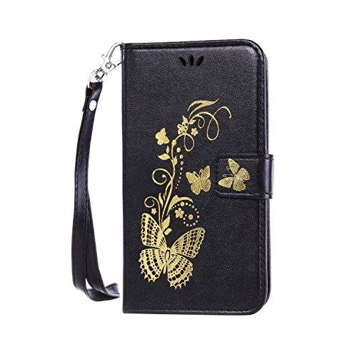 Coque pour Huawei Honor 4C,Cozy Hut Élégant Style Bronzante Papillon Fleur motif,PU Cuir Flip Magnétique Portefeuille Etui Housse de Protection Coque