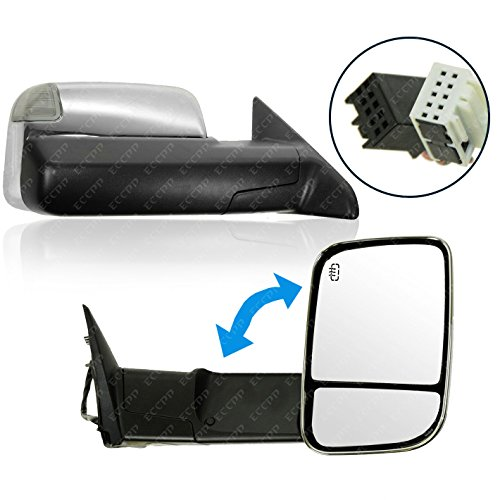 ECCPP Chrome Tow Towing Power Heated Side View Door Mirrors +Puddle Signal Light Left & Right Pair Set for 2010 DODGE RAM 1500 2500 3500 PICKUP,2011 2012 DODGE RAM 1500 2500 3500 (2013 Dodge Tow Mirrors compare prices)
