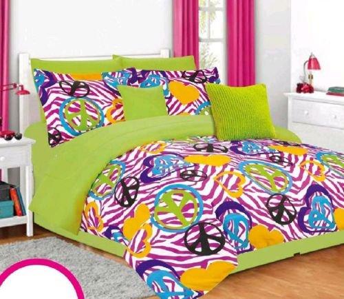 Sale Girls Kids Bedding G-Lee Multi-Color Peace Signs Zebra Stripe Comforter Set front-967146