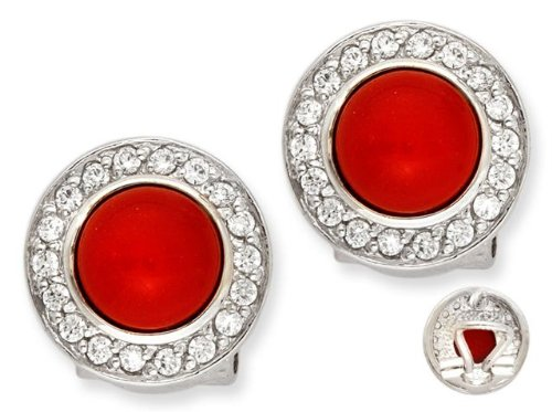Vivid Simulated Coral Cabochon C.Z. Circle Stud Earrings (Nice Holiday Gift, Special Black Firday Sale)