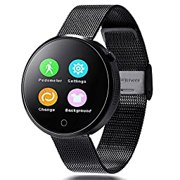 Lemfo Dm360 Bluetooth Smart Watch Smartwatch Heart Rate Monitor Pedometer Phone Mate Gesture Control for Android Ios (Black Metal)