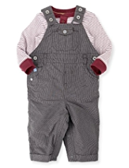 2 Piece Autograph Pure Cotton Houndstooth Print Dungaree Outfit
