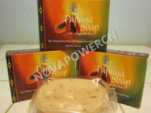 Madina Papaya With Green Tea Soap 100% Vegetable Base (Pack Of 3)