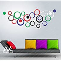 Naveed Arts - Large Size 3D Acrylic Mirror Wall Décor Stickers For Home & Office - Multi Color, 25 Ring - JB019L4MC...