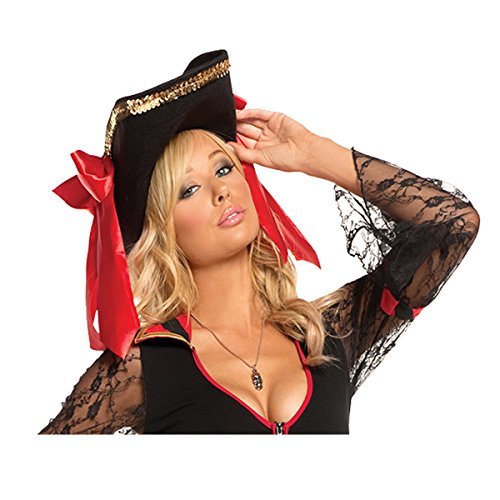 Sexy Women's Pirate Hat Adult Roleplay Costume Accessory, One Size, Black