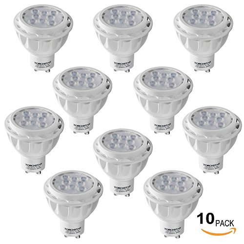 Torchstar Lot Of 10 110V 7W Gu10 Led Bulb - 5000K Daylight Led Spotlight - 50W Equivalent Gu10 Base - 500 Lumen 36 Degree Beam Angle For Home, Recessed, Accent, Track Lighting
