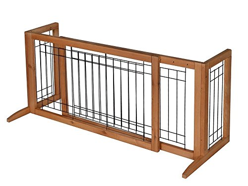 Pet Fence Gate Free Standing Adjustable Dog Gate Indoor Solid Wood Construction (Freestanding Art Panels compare prices)