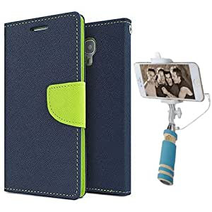 Aart Fancy Diary Card Wallet Flip Case Back Cover For HTC516 - (Blue) + Mini Aux Wired Fashionable Selfie Stick Compatible for all Mobiles Phones By Aart Store
