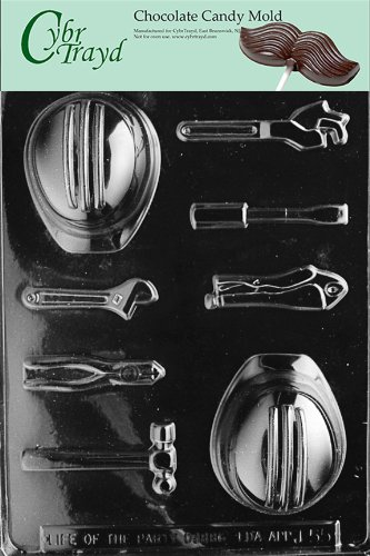 Cybrtrayd J055 Hard Hat Tools Hammer Chocolate Candy Mold with Exclusive Cybrtrayd Copyrighted Chocolate Molding Instructions (Hat Chocolate Mold compare prices)