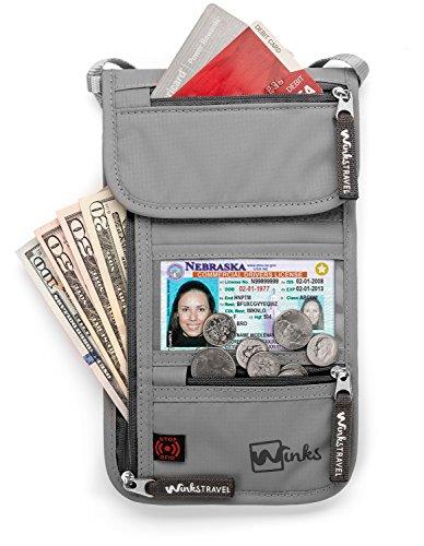 Winks Borsello da Viaggio da portare al Collo con Protezione RFID Portapassaporto - Portatutto con 7 Tasche