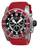 Invicta Pro Diver Swiss Made Men's Quartz Watch with Black Dial Chronograph Display and Red PU Strap 14672